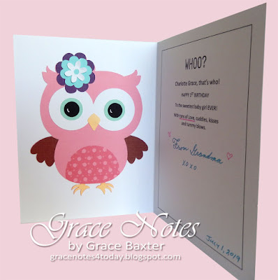 owl-themed baby's 1st Bday card, inside. By Grace Baxter
