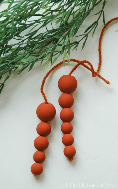 beaded carrots from wooden craft beads