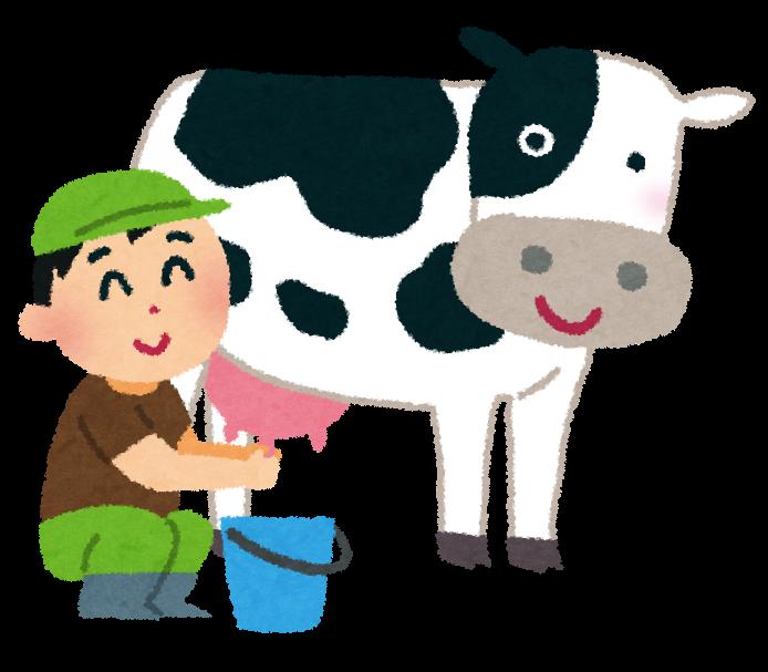 牛の乳搾りのイラスト かわいいフリー素材集 いらすとや