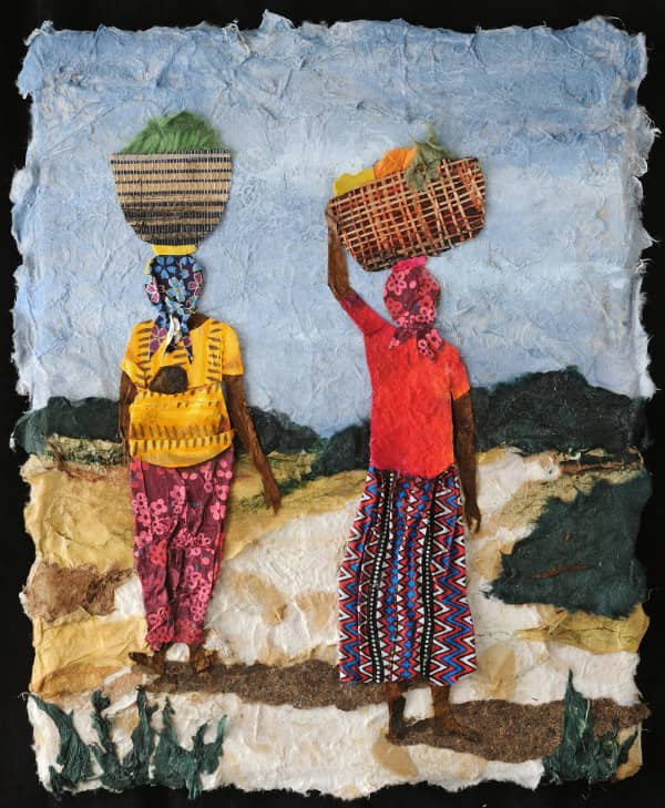 textured paper collage of two woman carrying large baskets containing produce on heads in countryside