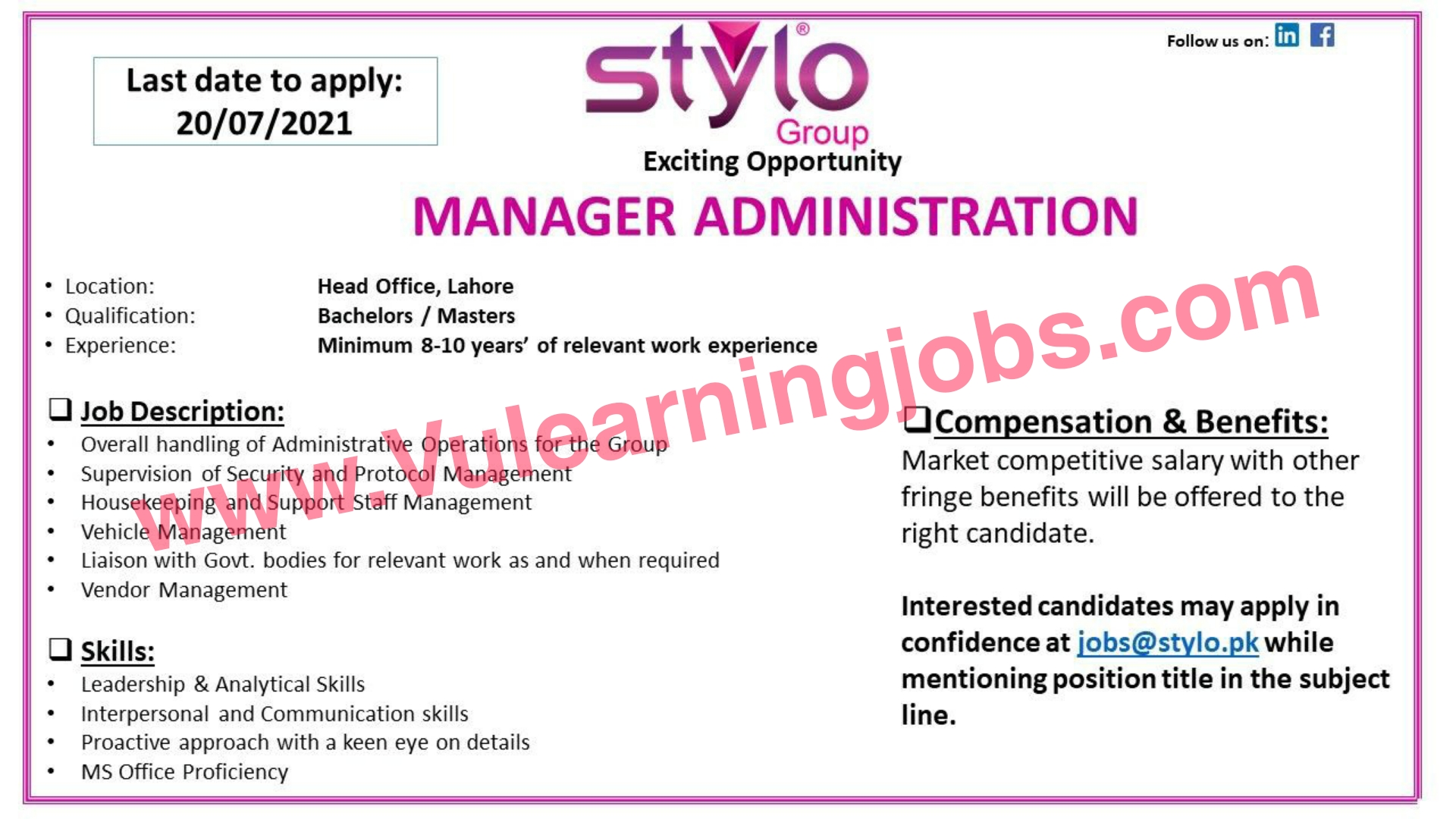 Stylo Pvt Ltd Jobs July 2021 Manager Administration, Manager QA Latest