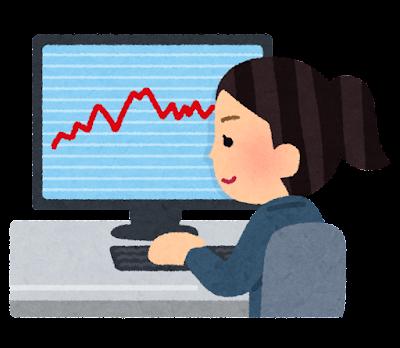 パソコンでチャートを見る女性のイラスト