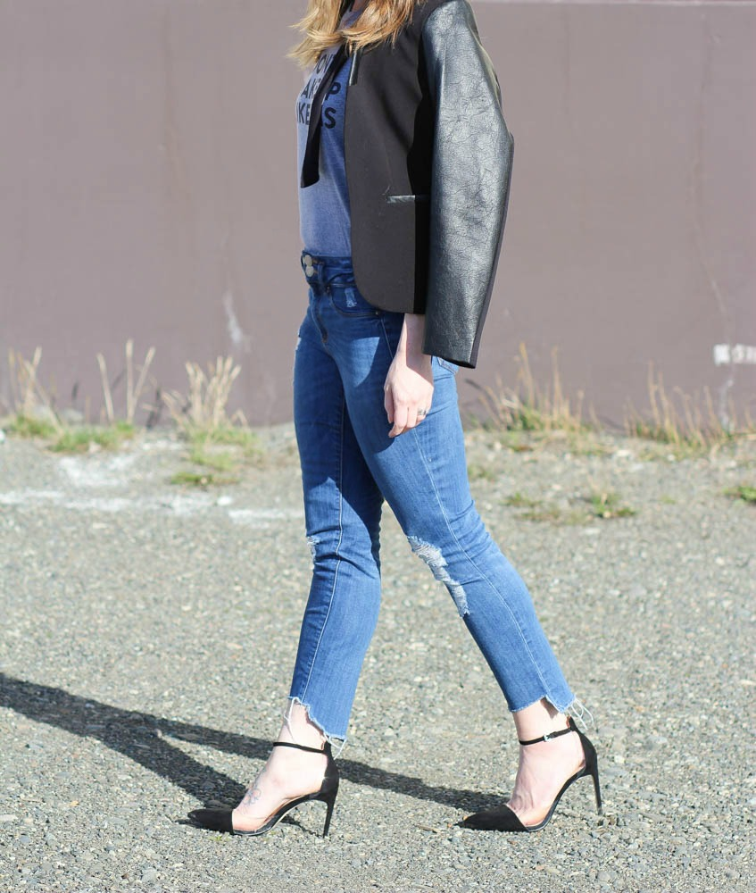 Uneven hem denim for spring