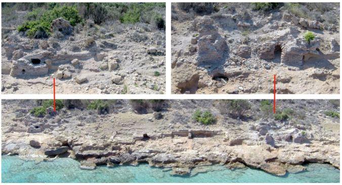 Dana Adası'nda kıyı hattı üzerindeki Roma Hamamı ve bir tuğla yapı
