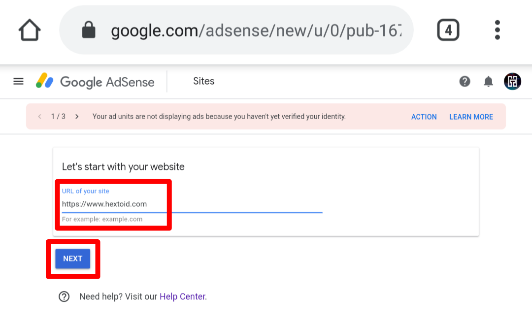Enter Site Name > Click Next [URL Must Be A Valid Top-Level Domain]