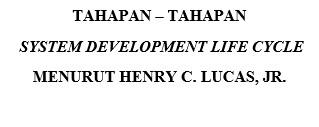 TAHAPAN – TAHAPAN  SYSTEM DEVELOPMENT LIFE CYCLE (SDLC) - HENRY C. LUCAS, JR