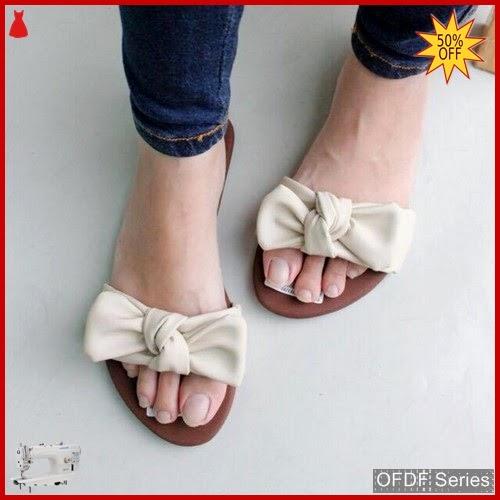 OFDF177 Sandal Cantik Wanita Selop Ribbon Putih BMGShop