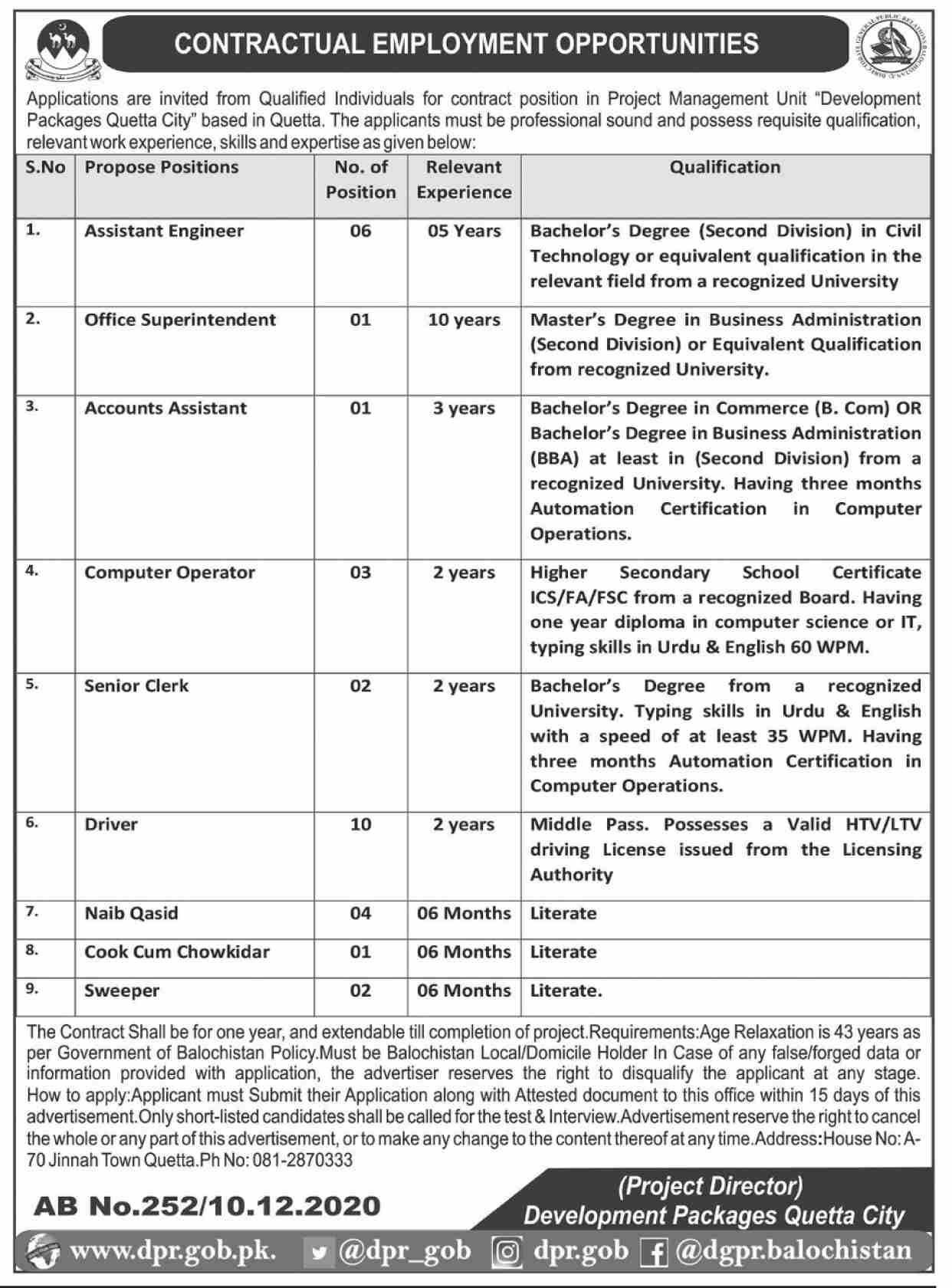 Project Management Unit Development Quetta Jobs in Pakistan for Male and Female - Download Job Application Form Latest Govt Jobs 2021