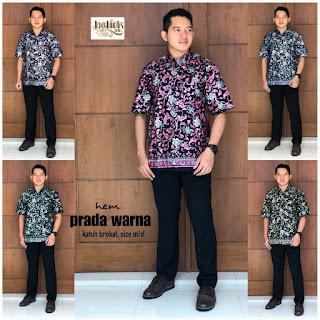 Batik Kemeja Batik Pria Lengan Pendek Prada Warna Lavender