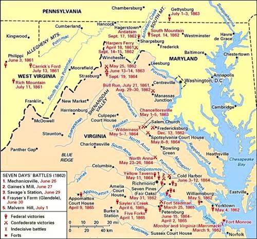 Guerra civil americana: guerra en el este, 1861-1865