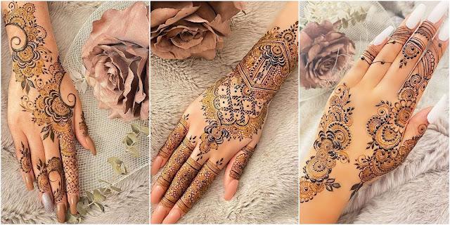 Elegant traditional Mehndi Designs for Front & Back hand