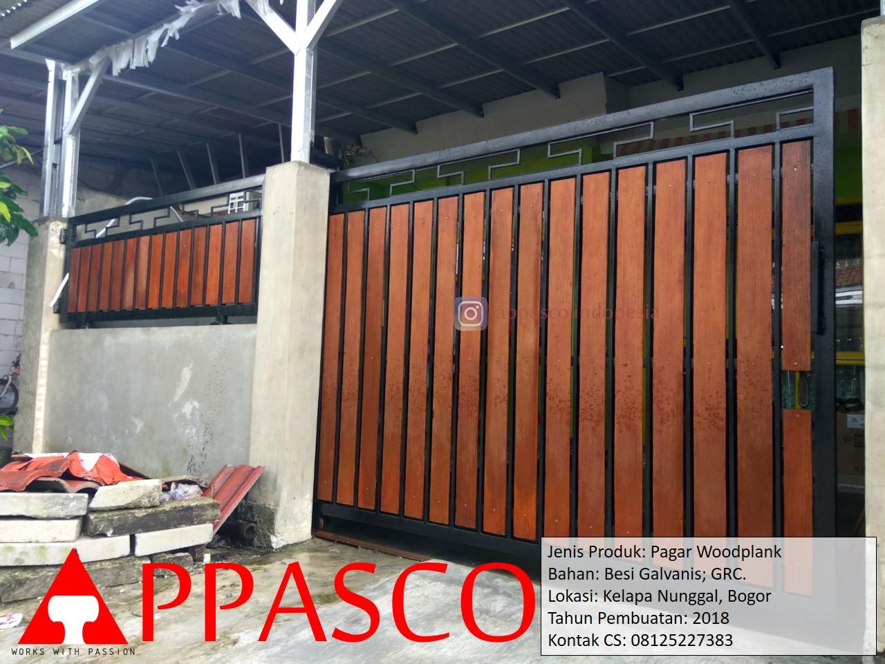 Pagar Minimalis Motif Kayu Woodplank di Kelapa Nunggal Bogor