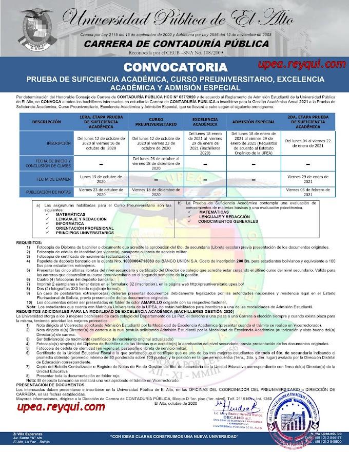 Contaduría Pública UPEA 2021: Convocatoria a la Prueba de Suficiencia Académica, Curso Preuniversitario, Excelencia Académica y Admisión Especial