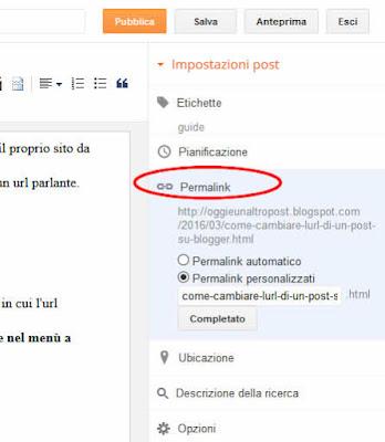 Come modificare l'url di un post su blogger