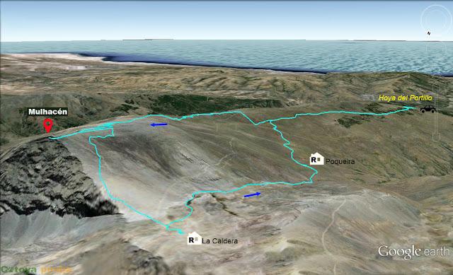 Map de la ruta al Pico Mulhacén desde la Hoya del Portillo en Sierra Nevada.