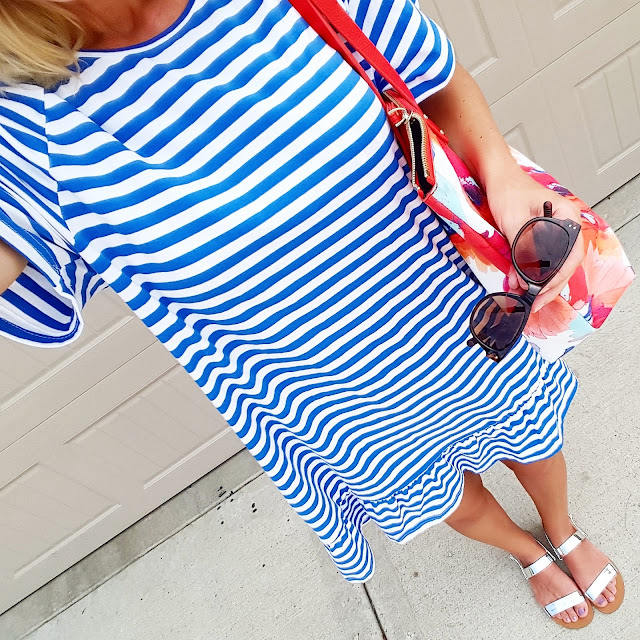 Today was a pool day and I am wearing my SheIn striped cover-up - you have to see the back!