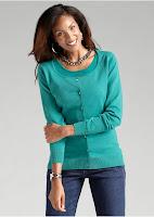 Jachetă tricotată cu decolteu rotund și bandă de nasturi
