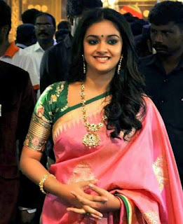 Keerthy Suresh in Pink Saree with Cute and Awesome Lovely Chubby Cheeks Smile
