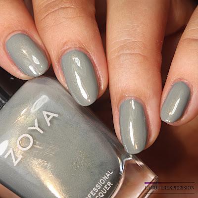 Swatch of a sage green nail polish by Zoya called Fern