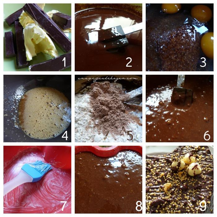 Fotografías de cómo hacer un brownie de chocolate en el microondas.