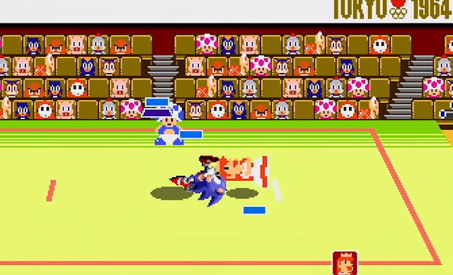 Mario & Sonic at the Olympic Games Tokyo 2020 2D Classic Events Princess Peach suplex wrestling sprite