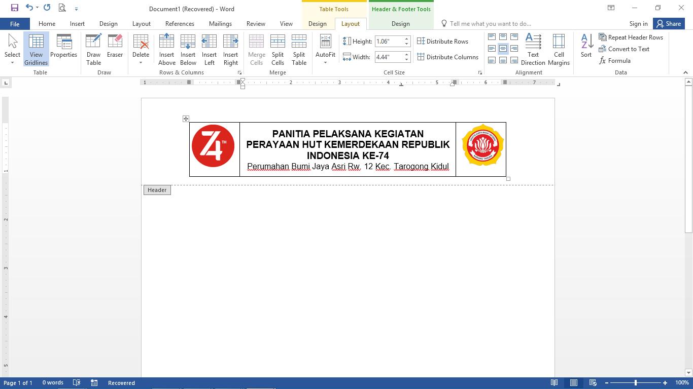Cara Membuat Kop Surat Dengan 2 Logo