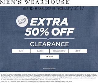 free Men's Wearhouse coupons february 2017