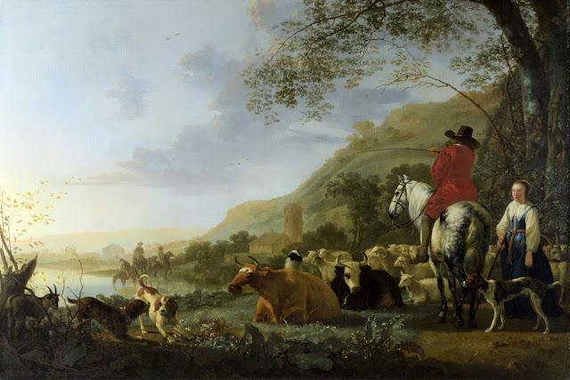 Альберт Кёйп - Холмистый речной пейзаж с всадником, говорящим с пастушкой. 1655-60