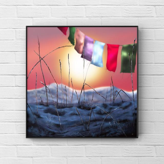 Mountain, snow, prayer flags, artwork,