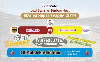 Mzansi 2019 Durban vs Jozi 27th Today Match Prediction Reports