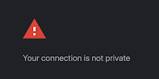 "A red triangle with an exclamation mark inside followed by the text ""Your connection is not private"". Screen captured from the chrome SSL certificate error page."