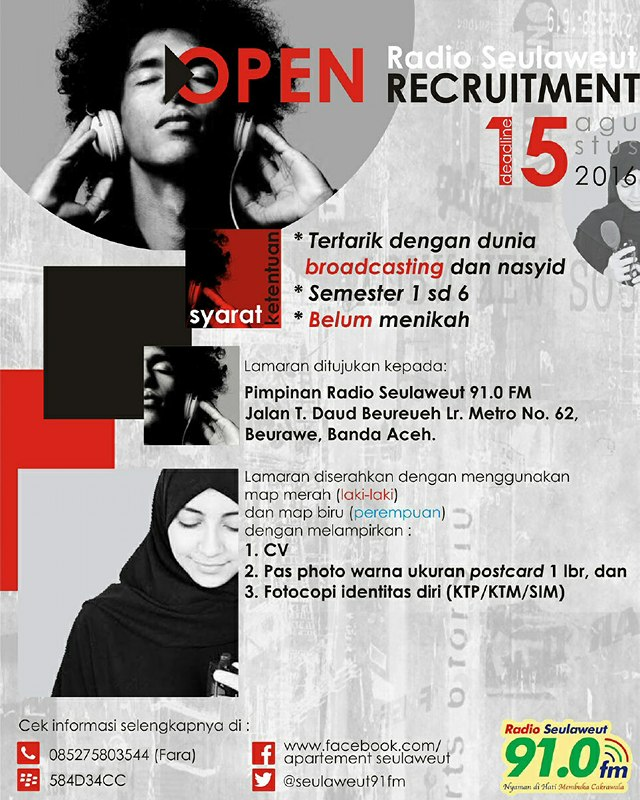 Open Recruitment RADIO SEULAWEUT 91.0 FM