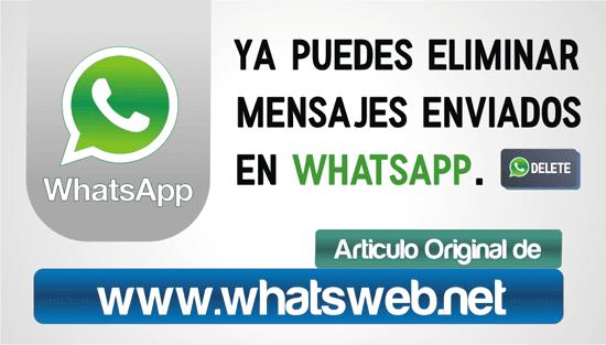 Eliminar mensajes enviados en WhatsApp