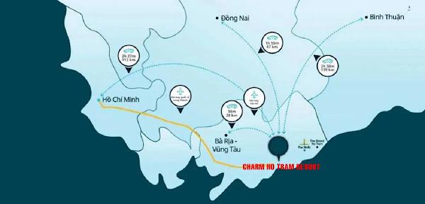 bản đồ vị trí dự án Charm Resort Hồ Tràm