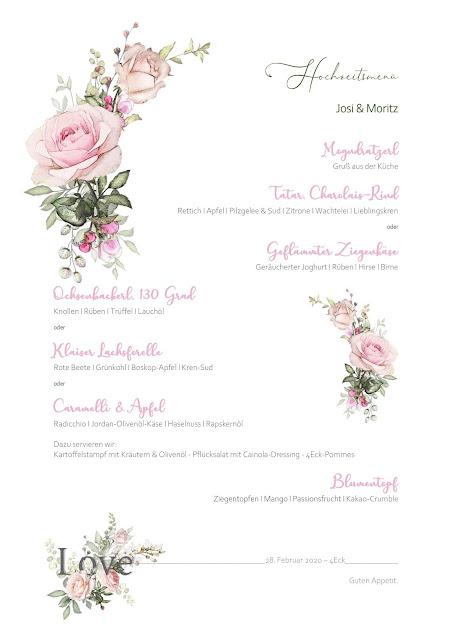 Hochzeitsmenü, Menükarten, Grafik,  Vintage Hochzeit, kleine Hochzeit, Standesamt, 4Eck Restaurant, Garmisch-Partenkirchen, 4 weddings & events, Hochzeitsplanung Uschi Glas, heiraten in Garmisch
