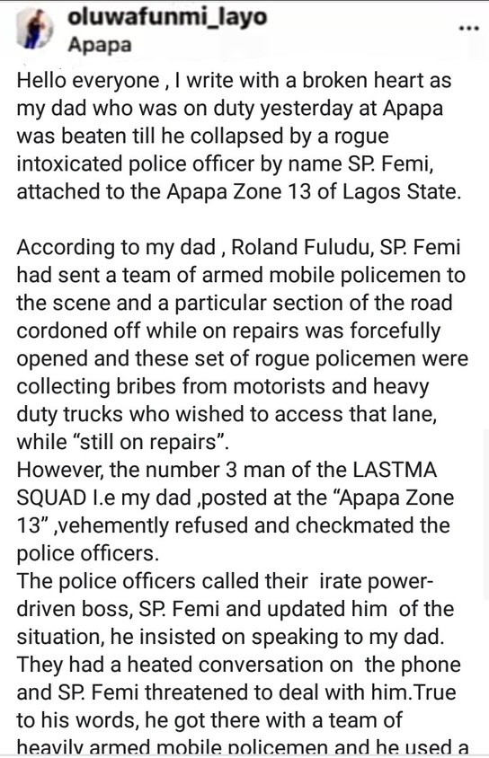 Police allegedly beat a LASTMA official to coma in Apapa
