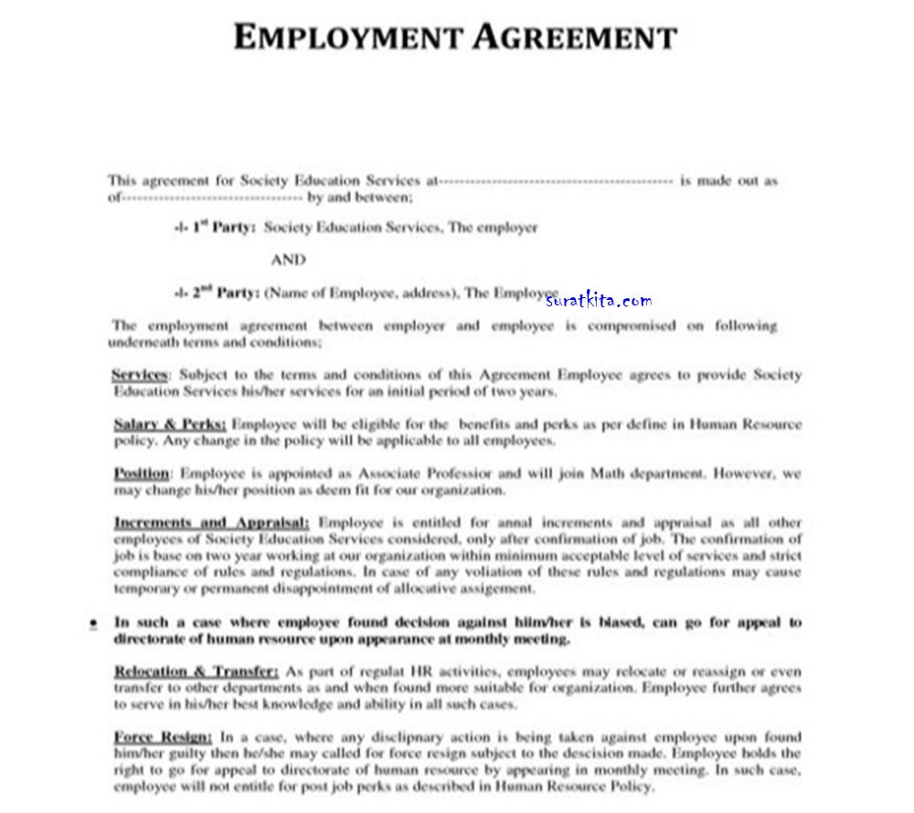 Contoh Surat Perjanjian Kerja Dalam Bahasa Indonesia Dan Macam Macam