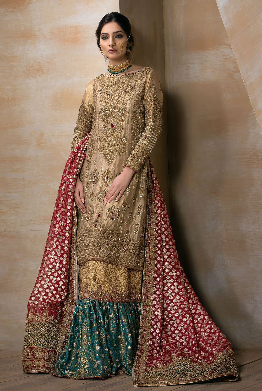 Beautiful and traditional Pakistani bridal dresses by MIRUSAH for Mehndi Barat and Walima