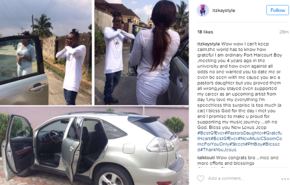 Nigerian man shows off car his girlfriend just bought for him