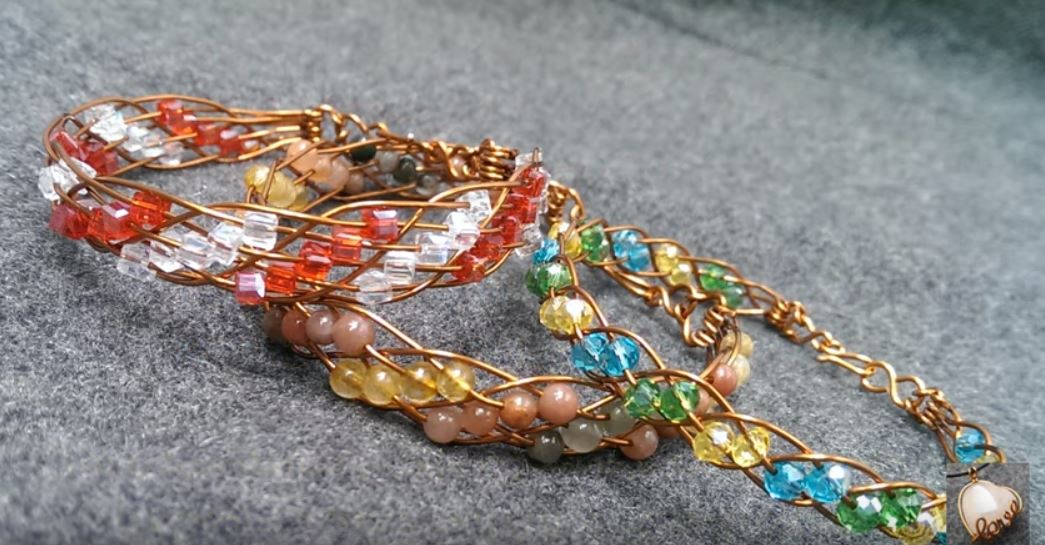The Clasp End of This Bead and Wire Woven Bracelet Tutorial is a ...