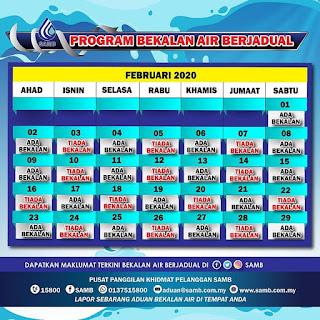 jadual program bagi bekalan air berjadual bagi bulan Februari 2020