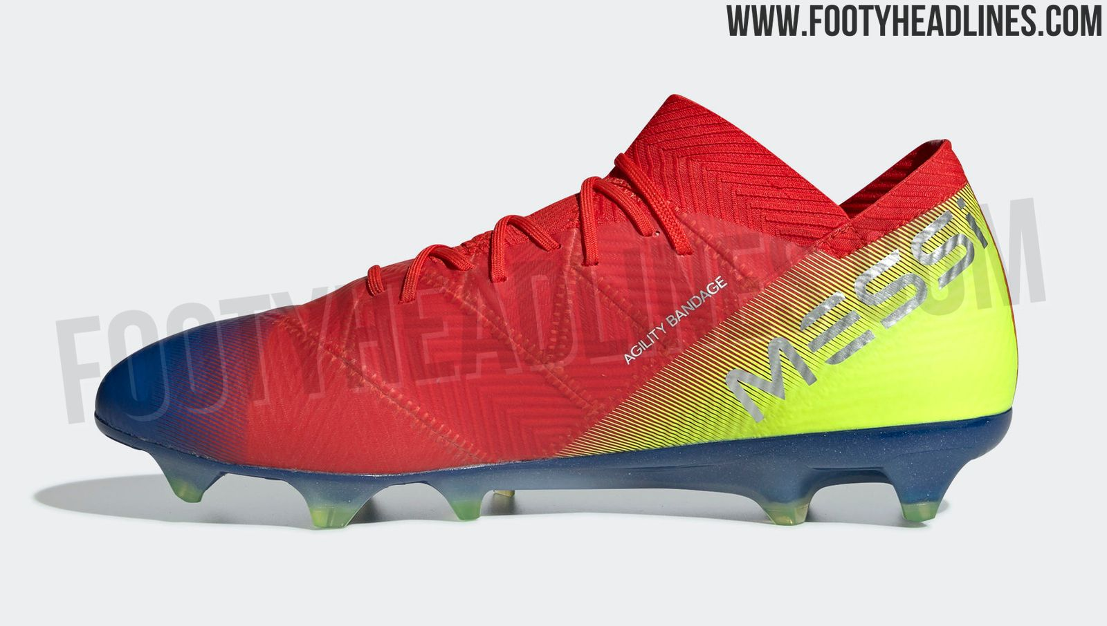 320123f8c51b8c ... Nemeziz Messi boots are red with fading blue bits on the outside front  and rear. All brandings