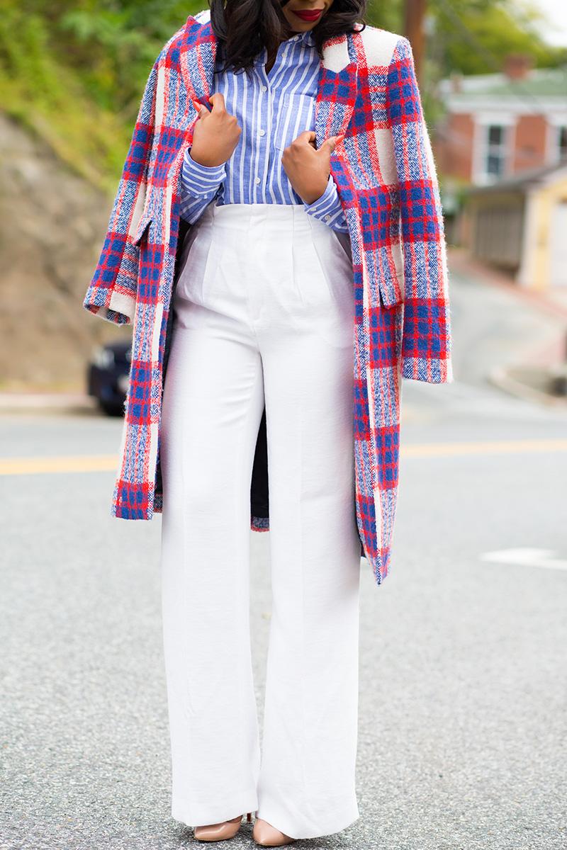 Zara statement coat, wide leg pants