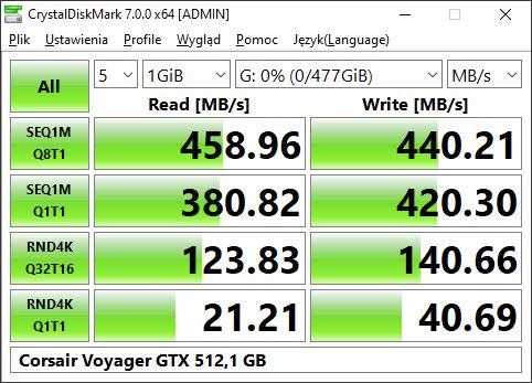Corsair Voyager GTX 512 wporcie USB znajdującym się bezpośrednio na płycie głównej
