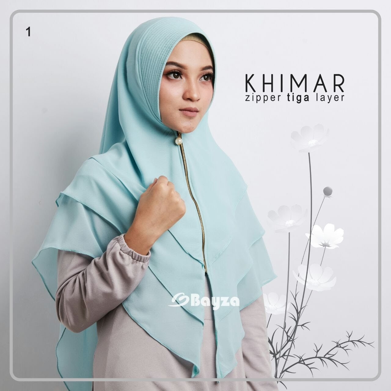 Khimar Zipper 3 Layer By Bayza Gerai Gamis Shafiyya Jilbab 3layer Syari Ori