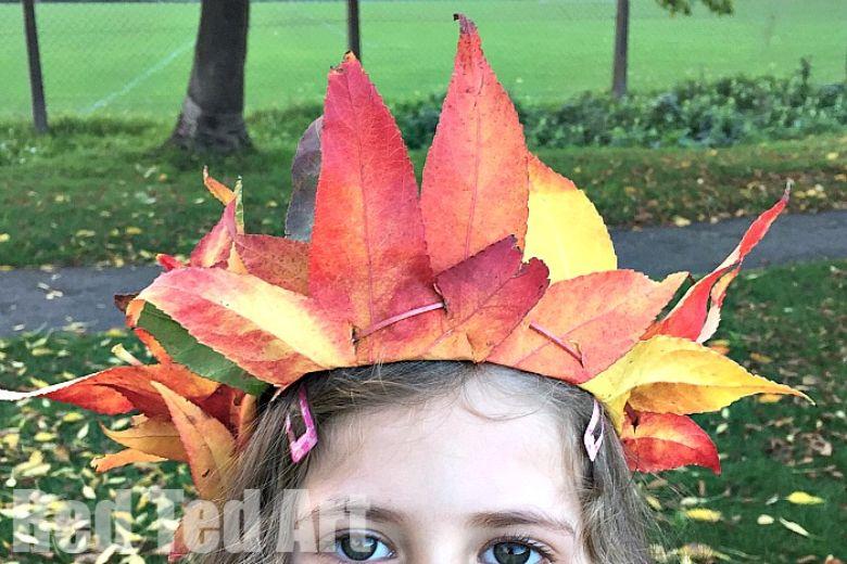 leaf crown nature craft for kids