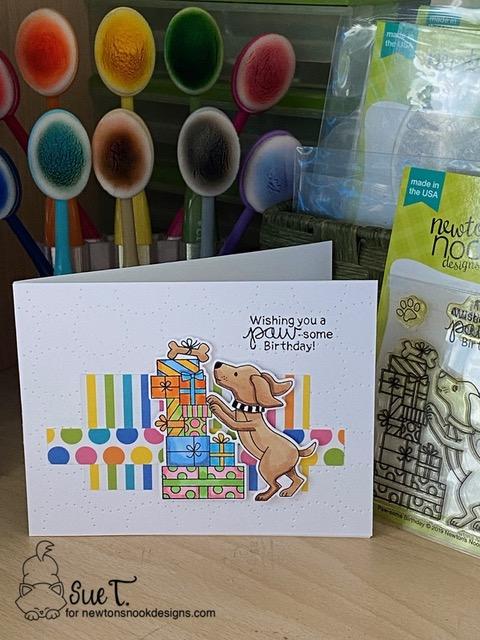 Wishing you a paw-some birthday by Sue T. features Paw-some Birthday by Newton's Nook Designs; #inkypaws, #newtonsnook, #cardmaking, #birthdaycard, #puppycards