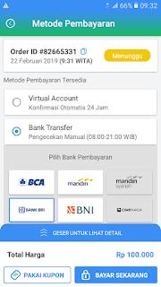 Cara isi saldo Payfazz via bank transfer