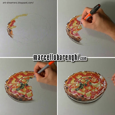 Art Drawings . Paintings , Sketches , realistic hyper art: Pizza Art