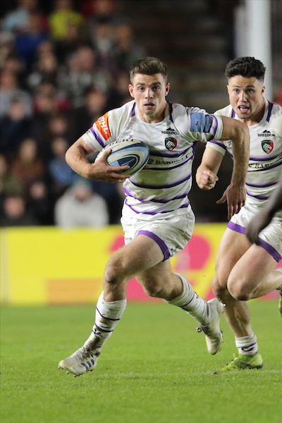 George Ford of Leicester runs with the ball